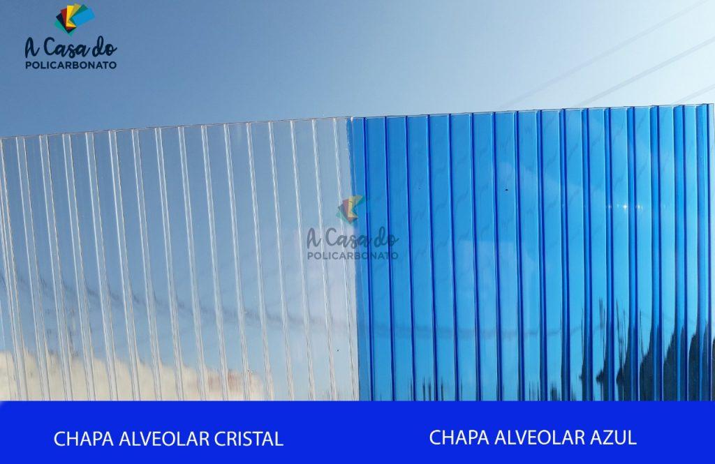 Chapa alveolar cristal / Azul - A Casa do Policarbonato