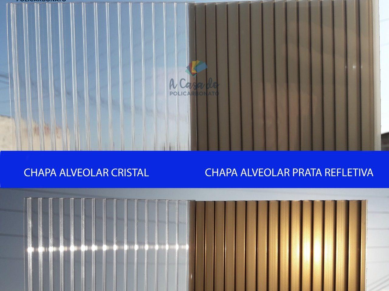Chapa alveolar cristal / Prata Refletiva - A Casa do Policarbonato